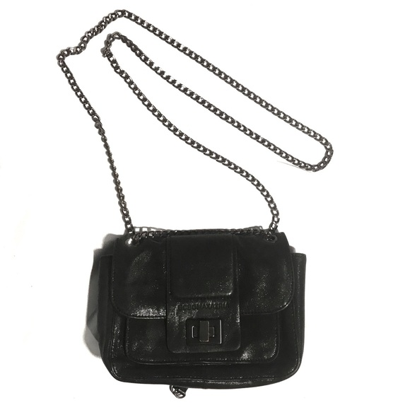 BCBGMaxAzria Handbags - BCBG MaxAzaria black matte leather glitter purse